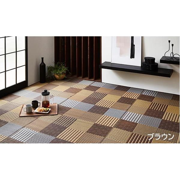 純国産 日本製 い草花ござカーペット 『京刺子』 ブラウン 本間4.5畳(約286×286cm)