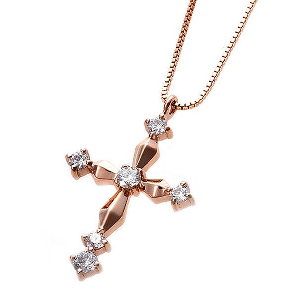 ダイヤモンド ネックレス クロス 0.1ct K18 ピンクゴールド 十字架 クロスモチーフ ペンダント 鑑別カード付き