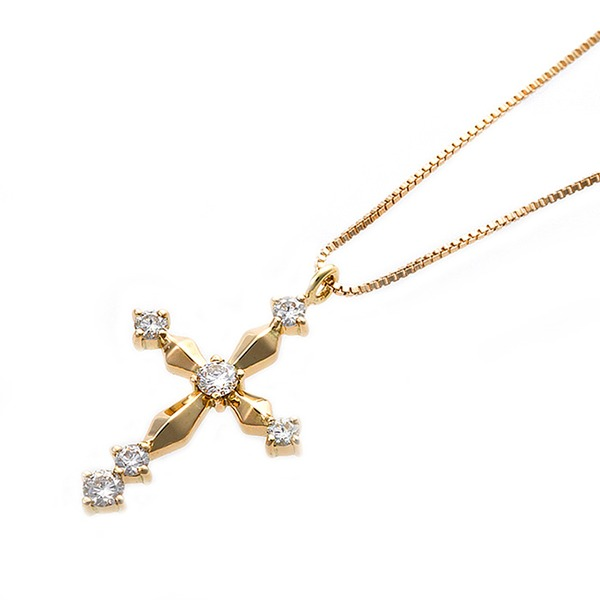 ダイヤモンド ネックレス 0.1ct K18 イエローゴールド 十字架 クロスモチーフ ペンダント 鑑別カード付き