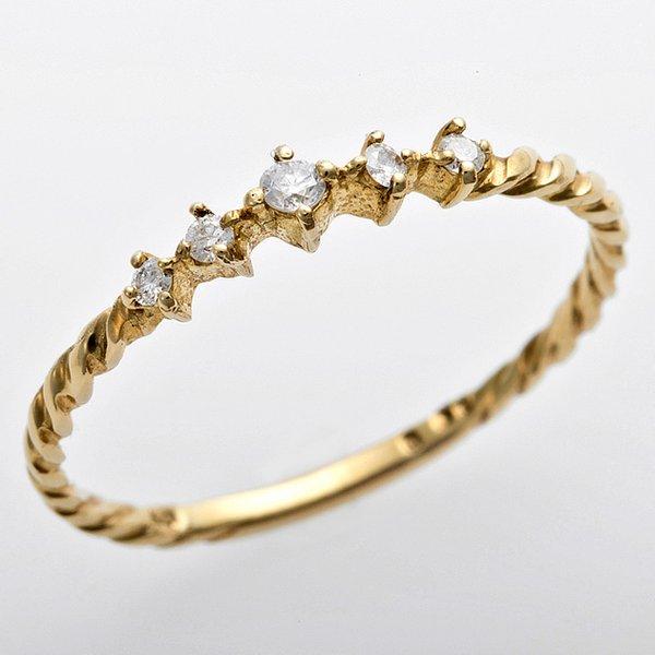K10イエローゴールド 天然ダイヤリング 指輪 ダイヤ0.06ct 9号 アンティーク調 プリンセス