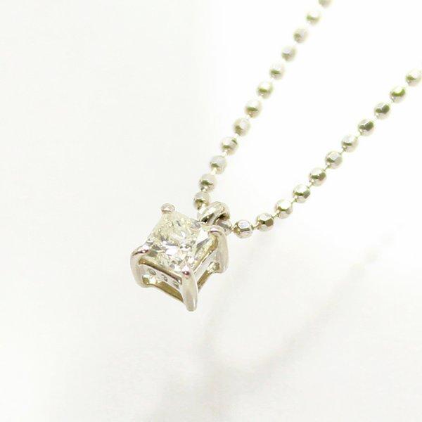 純プラチナ台プリンセスカット0.15ctライトイエローダイヤモンドペンダント/ネックレス【代引不可】