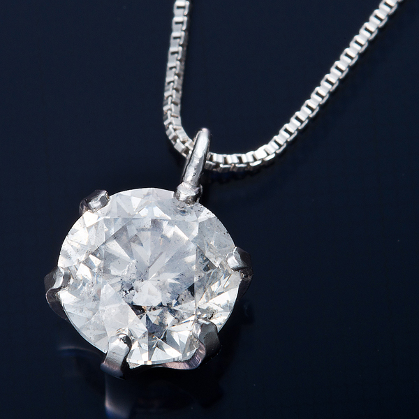 純プラチナ 0.7ctダイヤモンドペンダント/ネックレス ベネチアンチェーン(鑑別書付き)