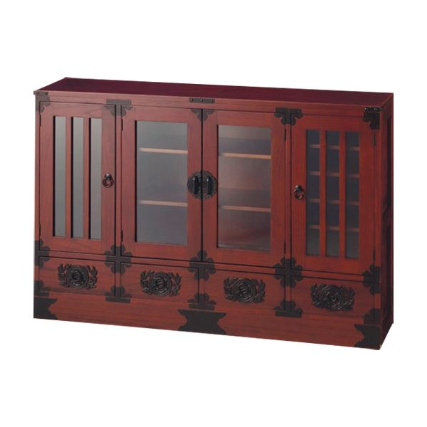 飾り棚【大】(民芸調シリーズ) 木製(天然木) 幅120cm×奥行30cm 扉/引き出し収納付き