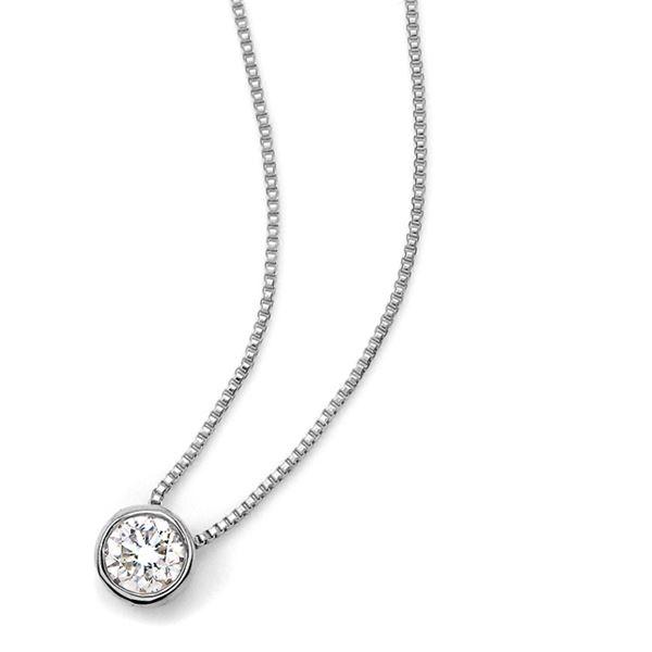 ダイヤモンド ネックレス 一粒 0.15ct K18 ホワイトゴールド Nudie Heart Plus(ヌーディーハートプラス)人気の覆輪留 ペンダント