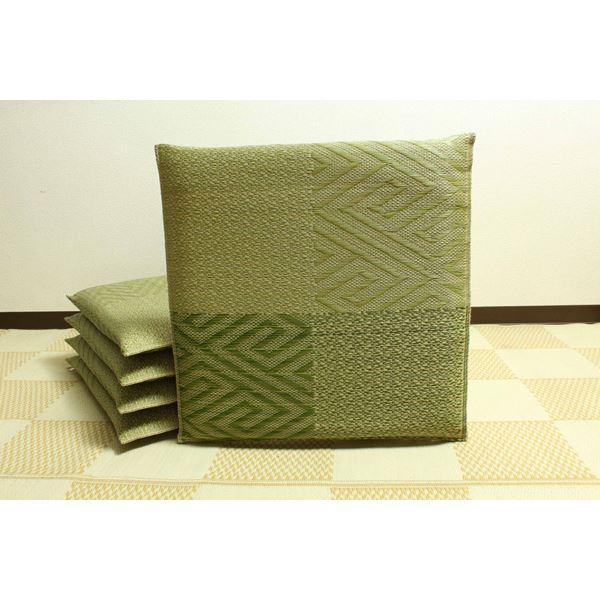 純国産/日本製 織込千鳥 い草座布団 五風 5枚組 グリーン 約55×55cm×5P