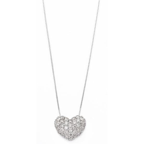 ダイヤモンド ネックレス 0.5ct K18 ホワイトゴールド ハート ダイヤパヴェネックレス 0.5カラット ハートパヴェ ペンダント