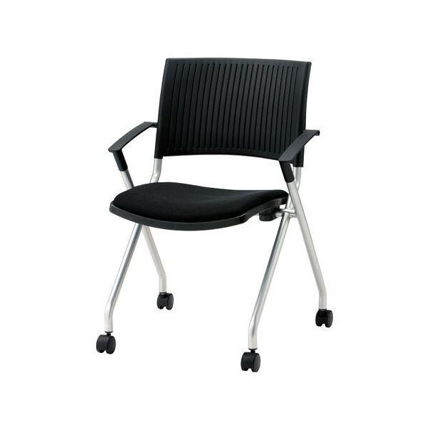 ジョインテックス 会議椅子(スタッキングチェア/ミーティングチェア) 肘付き/キャスター付き FJC-K5A ブラック 【完成品】