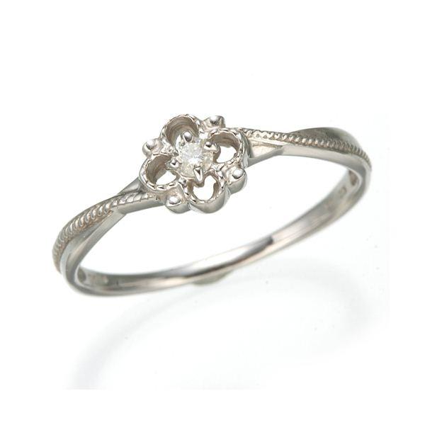 K10 ホワイトゴールド ダイヤリング 指輪 スプリングリング 184282 15号