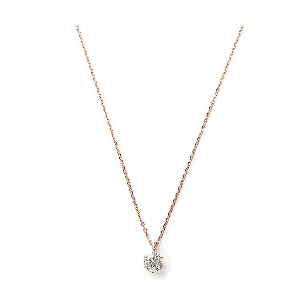 ダイヤモンド ネックレス 一粒 K18 ピンクゴールド 0.3ct ダイヤネックレス シンプル ペンダント