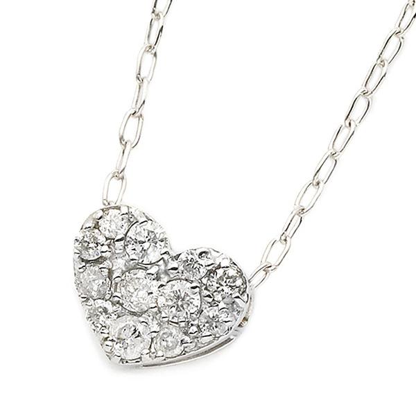 ダイヤモンド ネックレス K18 ホワイトゴールド 0.15ct ハート ダイヤパヴェネックレス ペンダント