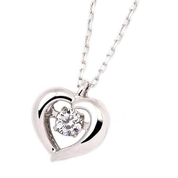 ダイヤモンドペンダント/ネックレス 一粒 K18 ホワイトゴールド 0.08ct ダンシングストーン ダイヤモンドスウィングネックレス 揺れるダイヤが輝きを増す☆ ハートモチーフ 揺れる ダイヤ