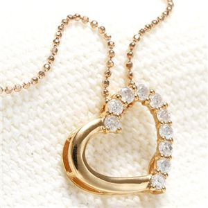 K18 PG オープンハートダイヤモンドペンダント/ネックレス