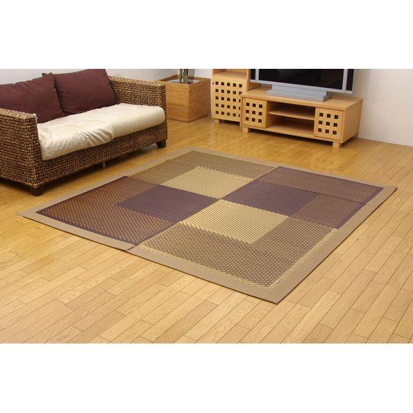 純国産/日本製 い草ラグカーペット ベージュ 約191×191cm (裏:不織布)