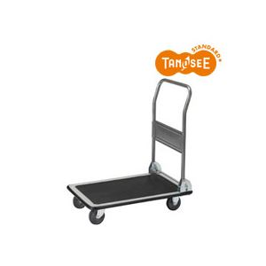 (まとめ)TANOSEE スチール台車 150kg荷重 黒 3台