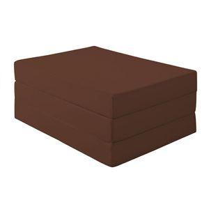 マットレス ダブル 厚さ12cm モカブラウン(仏=ブラウン) 新20色 厚さが選べるバランス三つ折りマットレス【代引不可】