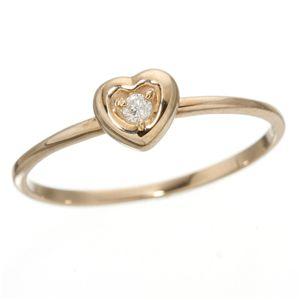 K10ハートダイヤリング 指輪 ピンクゴールド 15号