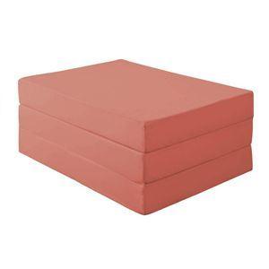 マットレス ダブル 厚さ12cm ローズピンク 新20色 厚さが選べるバランス三つ折りマットレス【代引不可】