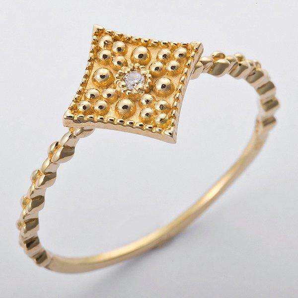 K10イエローゴールド 天然ダイヤリング 指輪 ダイヤ0.01ct 11号 アンティーク調 スクエアモチーフ
