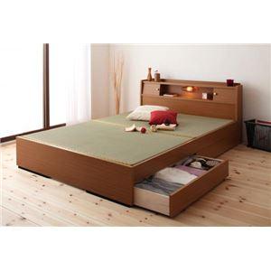 収納ベッド ダブル ライトブラウン 照明・棚付き畳収納ベッド【月下】Gekka【代引不可】