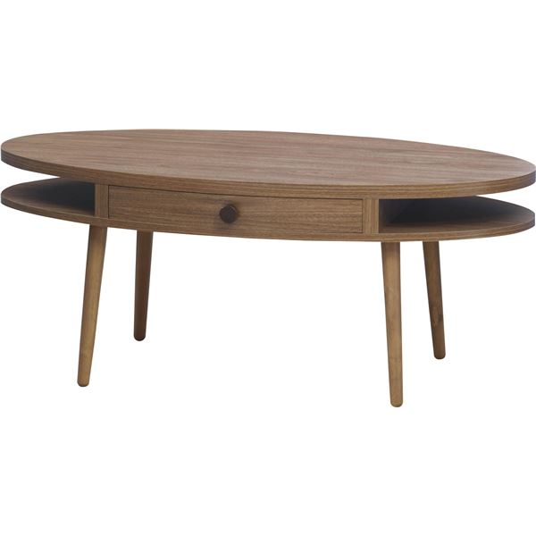デザインセンターテーブル/ローテーブル 【オーバル型 幅96cm】 引き出し付き ウォールナット 『アルム』 ALM-12WAL