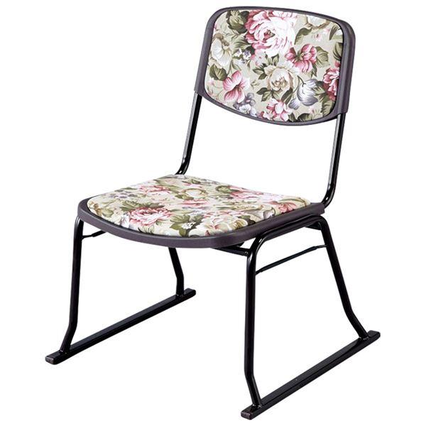 楽座椅子/スタッキングチェア 【4脚セット/花柄】 積み重ね可 スチール製 クッション張地:綿100%