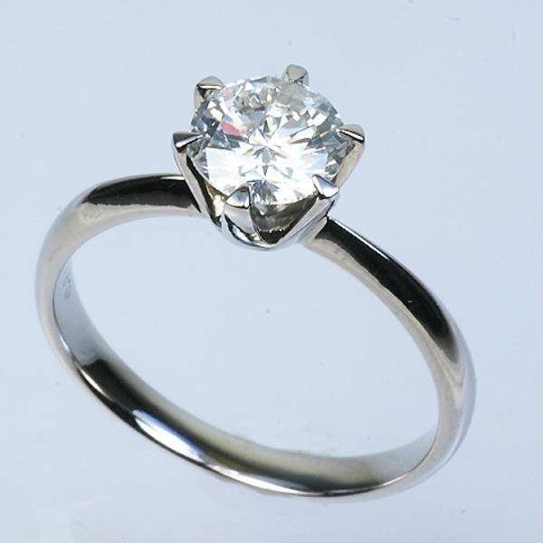 プラチナPt900 1.0ct一粒ダイヤリング 指輪 (鑑別書付き) 21号