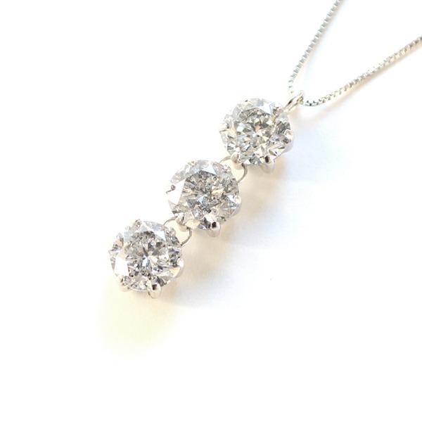 1.8ct プラチナ スリーストーン ダイヤモンド ペンダント ネックレス【代引不可】