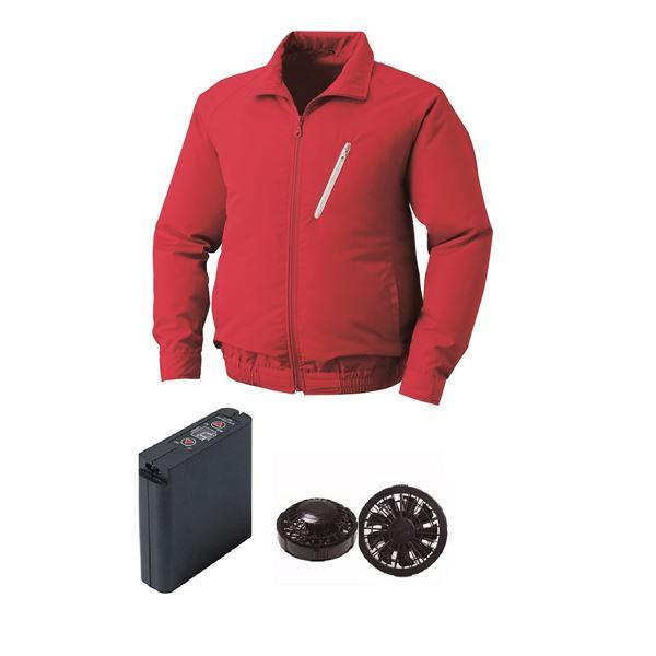 空調服 ポリエステル製空調服 大容量バッテリーセット ファンカラー:ブラック 0510B22C08S5 【カラー:レッド サイズ:XL 】