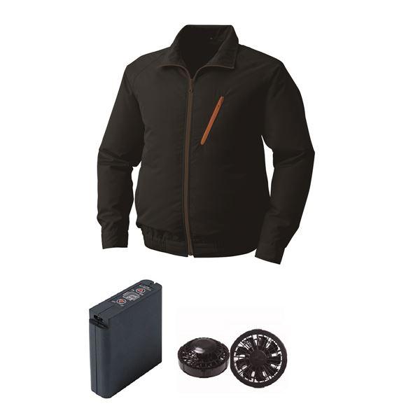 空調服 ポリエステル製空調服 大容量バッテリーセット ファンカラー:ブラック 0510B22C09S2 【カラー:ブラック サイズ:M 】