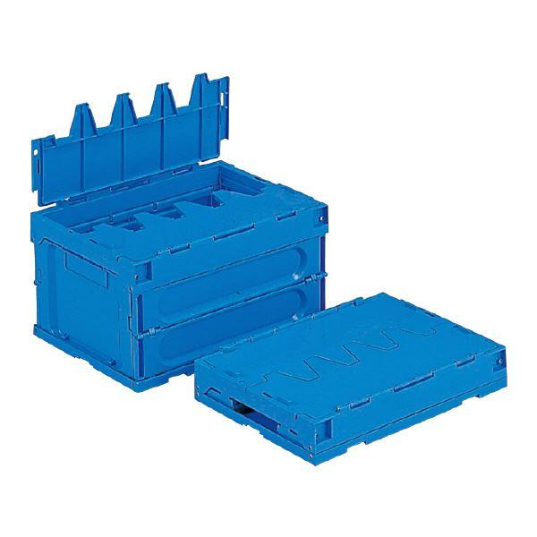 (まとめ)三甲(サンコー) 折りたたみコンテナボックス/サンクレットオリコン 【フタ付き】 28B ブルー(青) 【×10セット】【代引不可】