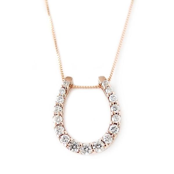 ダイヤモンド ネックレス K18 ピンクゴールド 0.2ct ダイヤネックレス 馬蹄 ペンダント