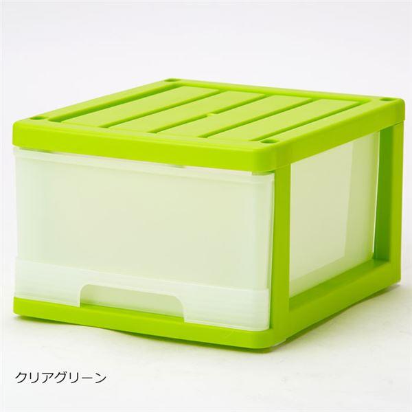 深型 収納ケース/キッチン収納 【12個組 クリアグリーン】 幅34.5cm スタッキング可 プラスチック 日本製