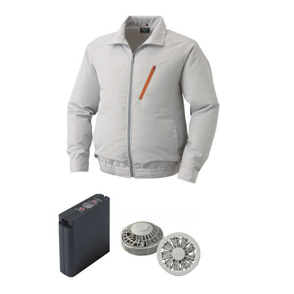 空調服 ポリエステル製空調服 大容量バッテリーセット ファンカラー:グレー 0510G22C06S5 【カラー:シルバー サイズ:XL】