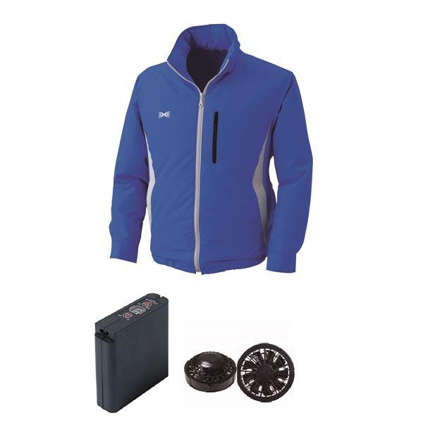 フード付き 空調服/作業着 【ファンカラー:ブラック カラー:ブルー M】 クラレ製 ポリエステル 大容量バッテリーセット