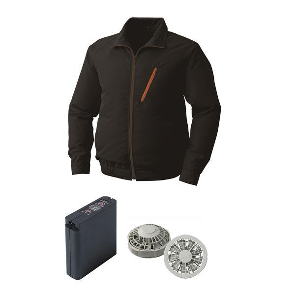 空調服 ポリエステル製空調服 大容量バッテリーセット ファンカラー:グレー 0510G22C09S4 【カラー:ブラック サイズ:2L】