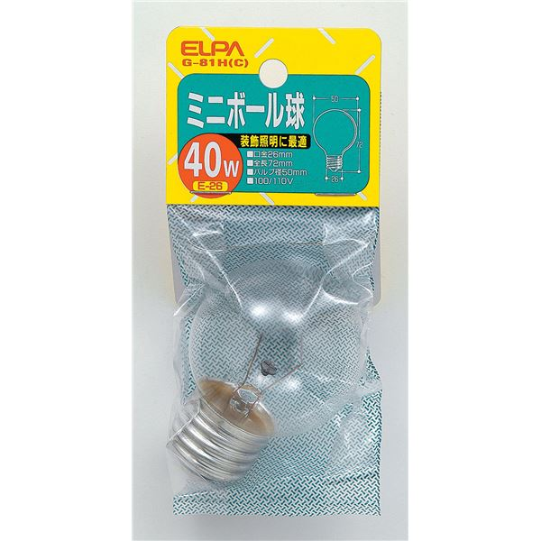 (業務用セット) ELPA ミニボール球 電球 40W E26 G50 クリア G-81H(C) 【×25セット】