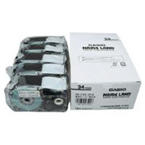 (業務用5セット) カシオ計算機(CASIO) テープ XR-24X-5P-E 透明に黒文字 24mm 5個