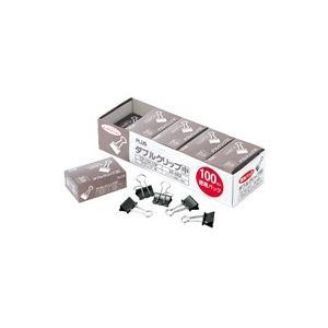 (業務用30セット) プラス ダブルクリップ CP-104-10P 中 黒 100個