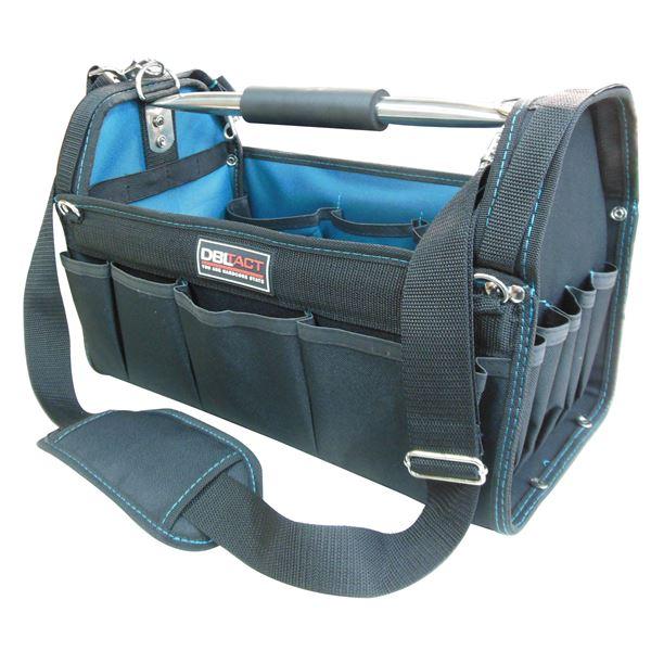 (業務用5個セット) DBLTACT オープンキャリーバッグ(ツールバッグ) 撥水加工 DT-SRB420M 420mm グリーン 〔DIY用品/大工道具〕