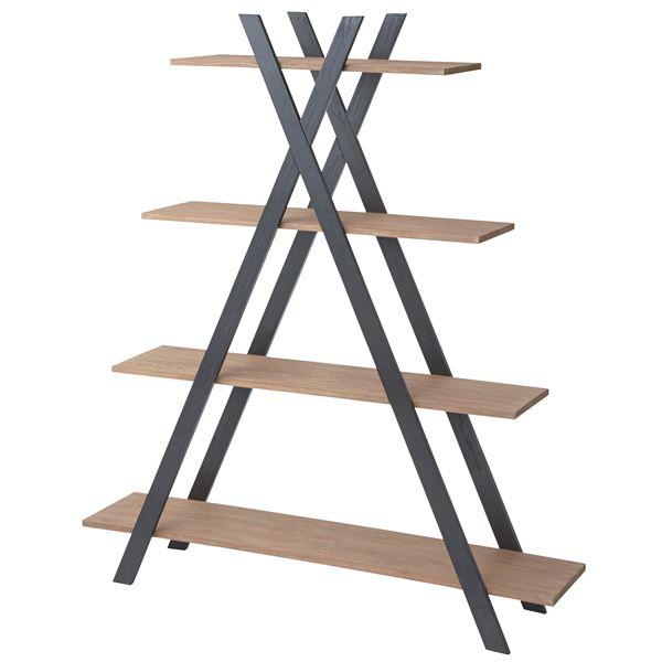 天然木オープンシェルフ/デザイン収納棚 【4段 幅150cm】 木製 NW-860