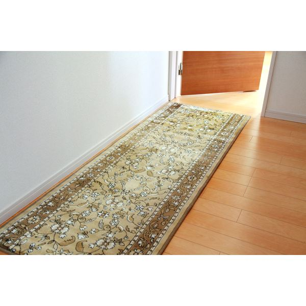 廊下敷き モケット織り 王朝柄 『オーク』 ベージュ 約67×700cm 滑りにくい加工