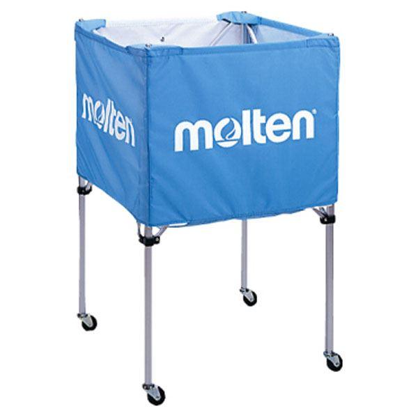 【モルテン Molten】 折りたたみ式 ボールカゴ 【中・背高 屋内用 サックス】 幅63×奥行63cm キャスター ケース付き