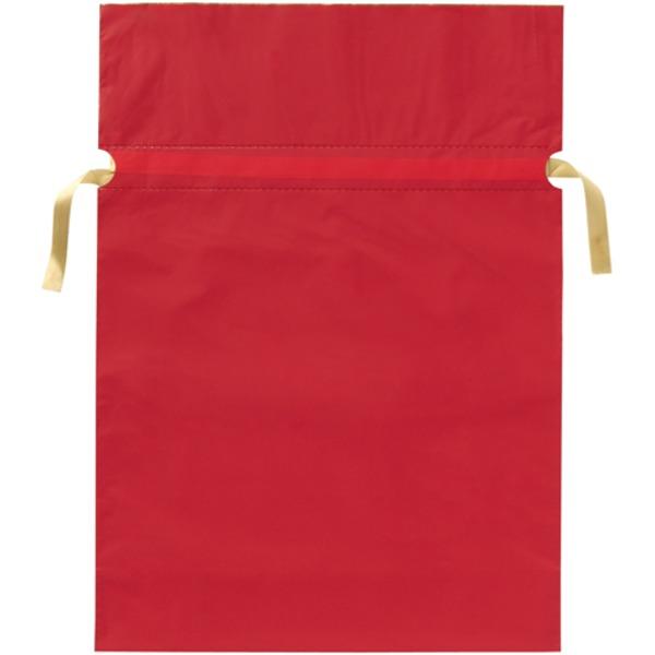 (業務用20セット) カクケイ 梨地リボン付き巾着袋 赤 L 20枚FK2402
