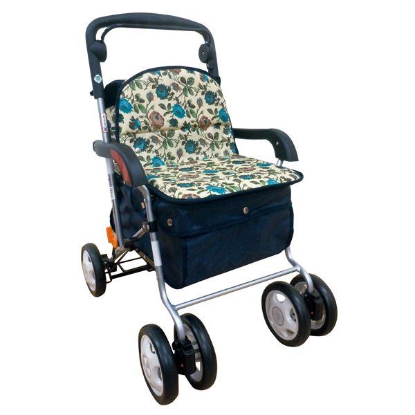 きほんのシルバーカー 反射機能/取り外し可能バッグ付き フラワーブルー (歩行補助用品/介護用品)