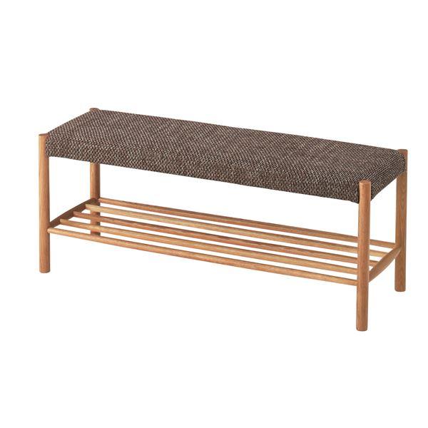 北欧風ベンチチェア/食卓ベンチ 【幅110cm】 天然木脚 張地:ファブリック生地 棚付き NYB-633