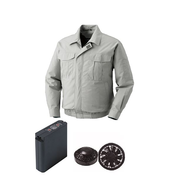 空調服 綿薄手ワーク空調服 大容量バッテリーセット ファンカラー:ブラック 0550B22C06S2 【カラー:シルバー サイズ:M 】