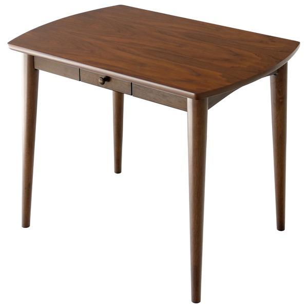 ダイニングテーブル/リビングテーブル ロージー 【幅90cm】 木製 収納棚付き 木目調