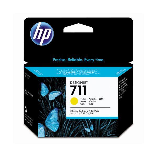 (まとめ) HP711 インクカートリッジ イエロー 29ml/個 染料系 CZ136A 1箱(3個) 【×3セット】