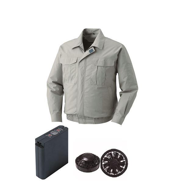 空調服 綿薄手ワーク空調服 大容量バッテリーセット ファンカラー:ブラック 0550B22C17S6 【カラー:モスグリーン サイズ:4L 】
