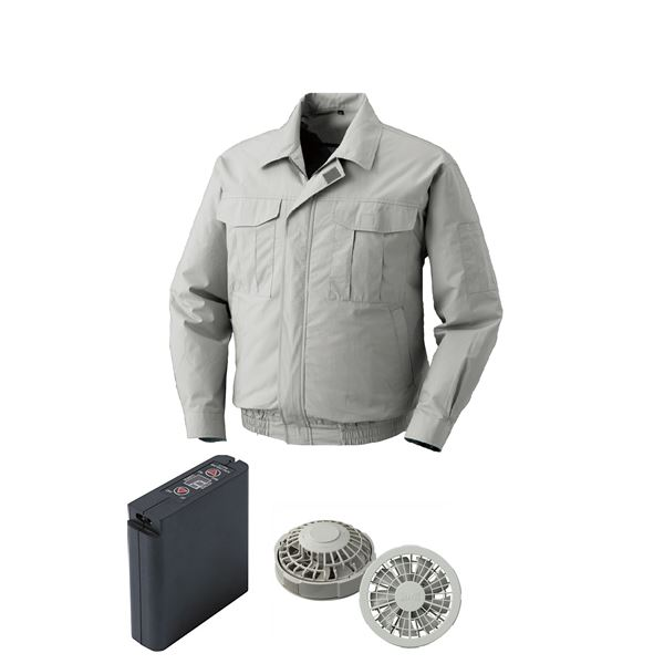 空調服 綿薄手ワーク空調服 大容量バッテリーセット ファンカラー:グレー 0550G22C06S3 【カラー:シルバー サイズ:L】